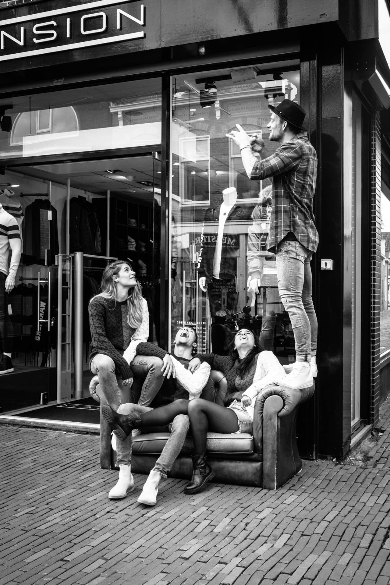 Standing on the armrest of the couch. Tim was photographing the next image for his instagram account. 18 Oktober 2018, Alkmaar, The Netherlands